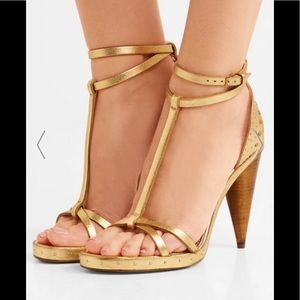 New Burberry Cone Heel Dual Strap Gold Sandals
